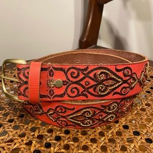 Lucky Brand Red Leather Embellished Beaded Belt L